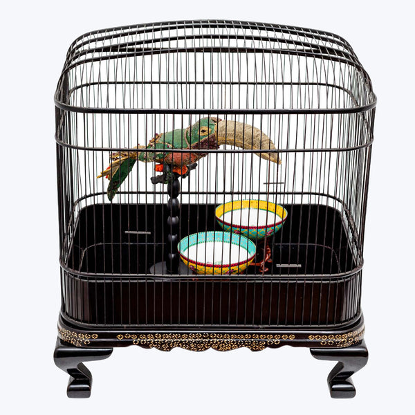 Textile Bird in Wooden Cage