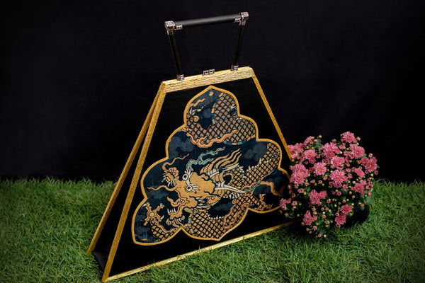 Antique Chinese Textile Handbag with a Golden Dragon