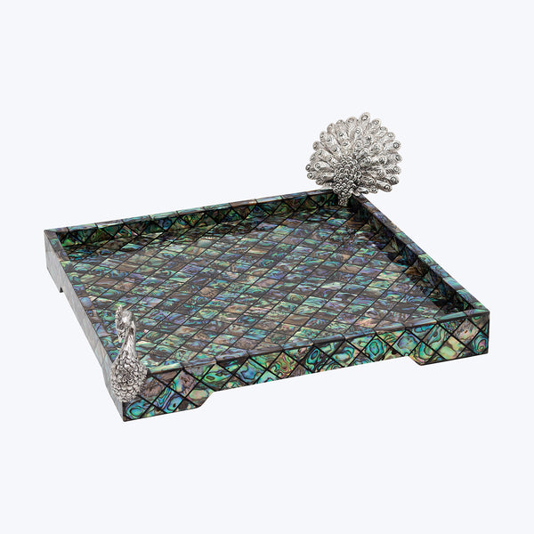 Abalone Shell Tray with Peacock