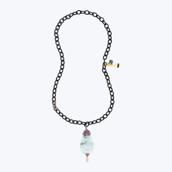 Buffalo Horn Necklace with Jade, Rhodolite, and Mother of Pearl
