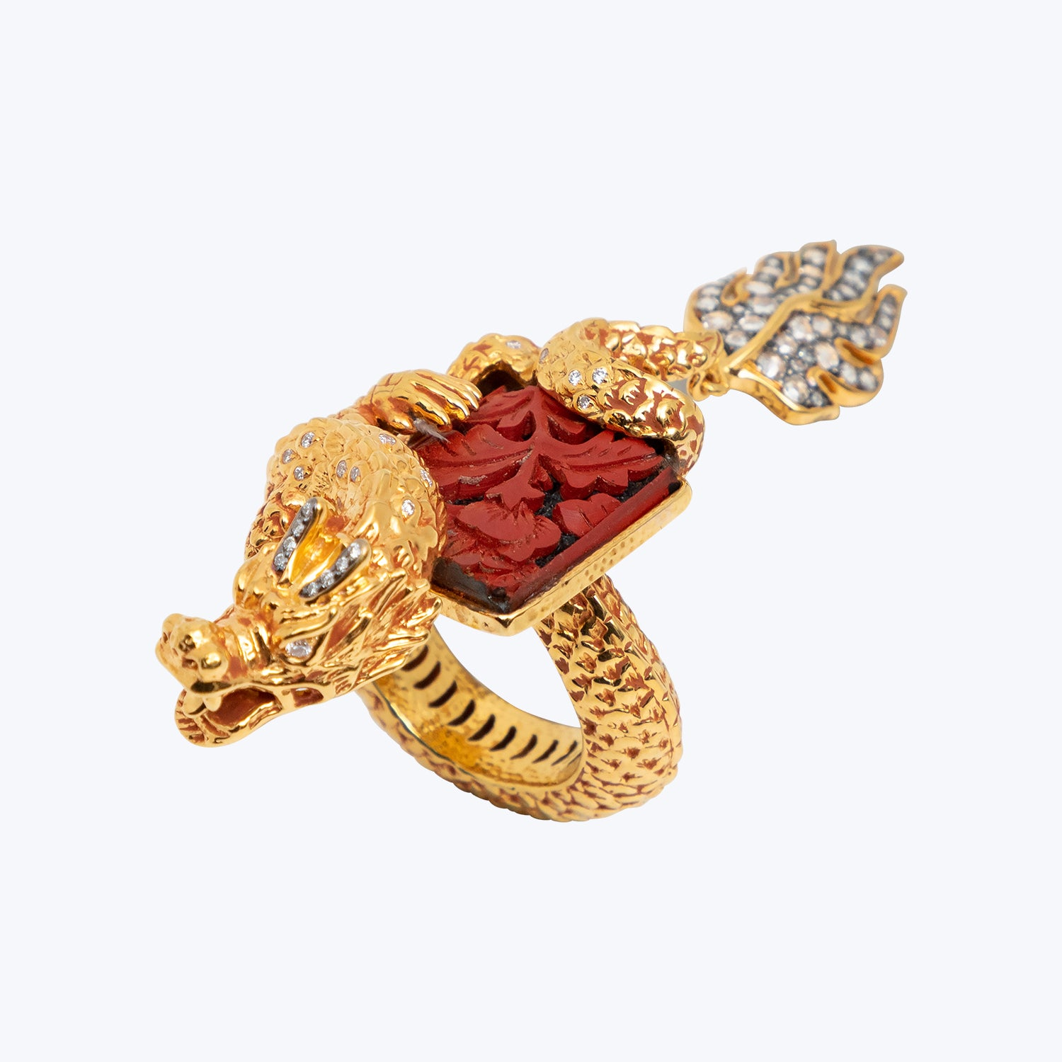 Dragon Ring with Carved Cinnabar Lacquer and Diamond