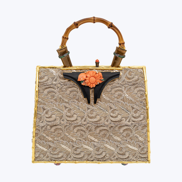 Antique Indian 'Zari' Saree Handbag with a Red Stone Sunflower