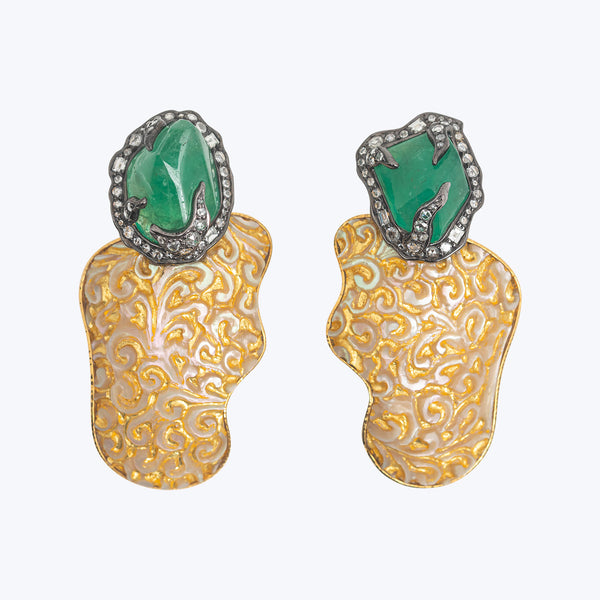 Carved Batulaga Shell Earrings with Zambian Emeralds