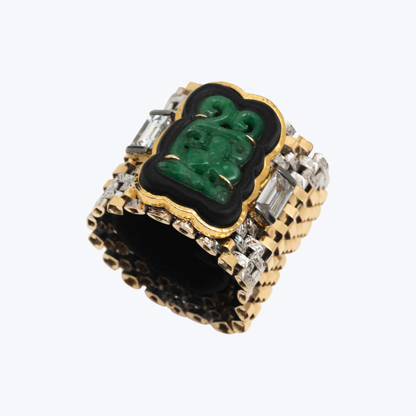 Gold Ring with Carved Jade and Diamond