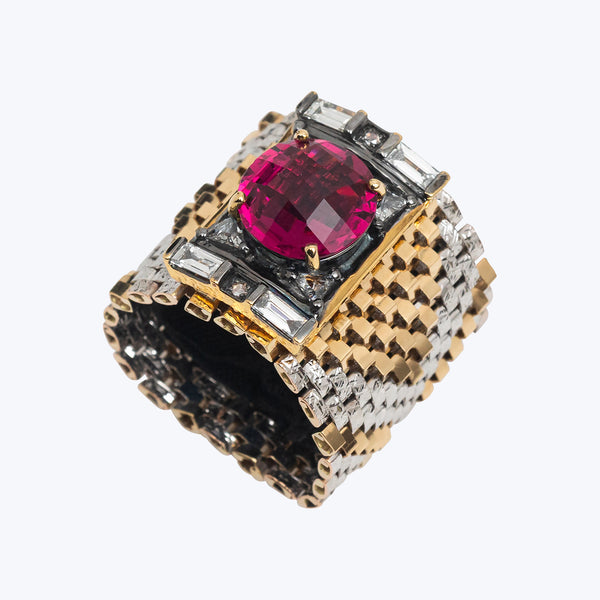 Gold Ring with Rubellite, Diamond and 18k Yellow Gold