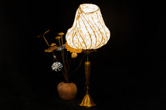 Lamp with Mulberry Paper and Lotus Brass Stand
