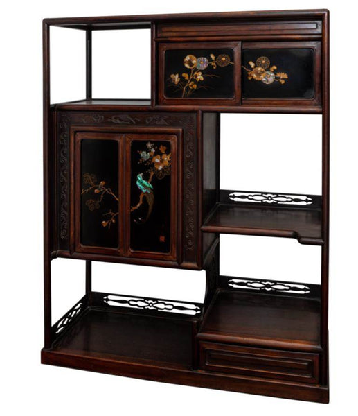 Japanese Lacquer Cabinet Adorned with Shell Inlaid Birds
