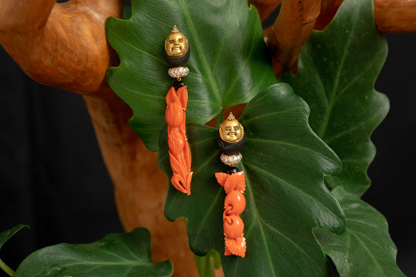 Happy Monk Earrings with Carved Red Stone