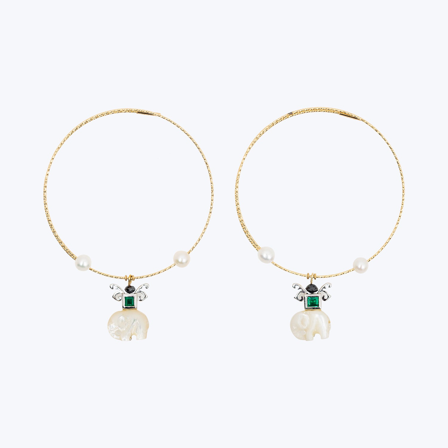 18K Yellow Gold Earrings with Carved Mother of Pearl Elephant, Emerald and Pearl