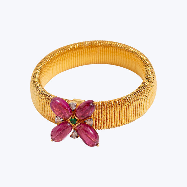 18K Gold Stretchable Bangle with Pink Tourmaline, Tsavorites and Diamonds