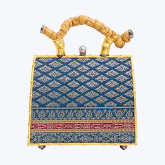 Woven Jewelled Silapacheep Handbag with Bamboo Root Handle and a Pearl