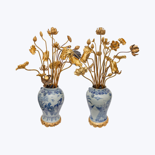 19th Century Chinese Vase Set with Japanese Temple Lotus Leaves and Flowers