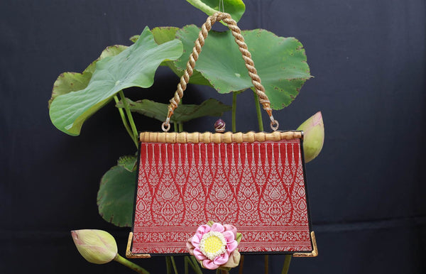 Woven Jewelled Silapacheep Handbag with Gold Silk Cord and Diamonds