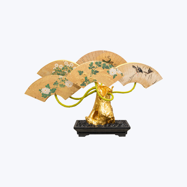 Bonsai Lamp with Japanese Fans