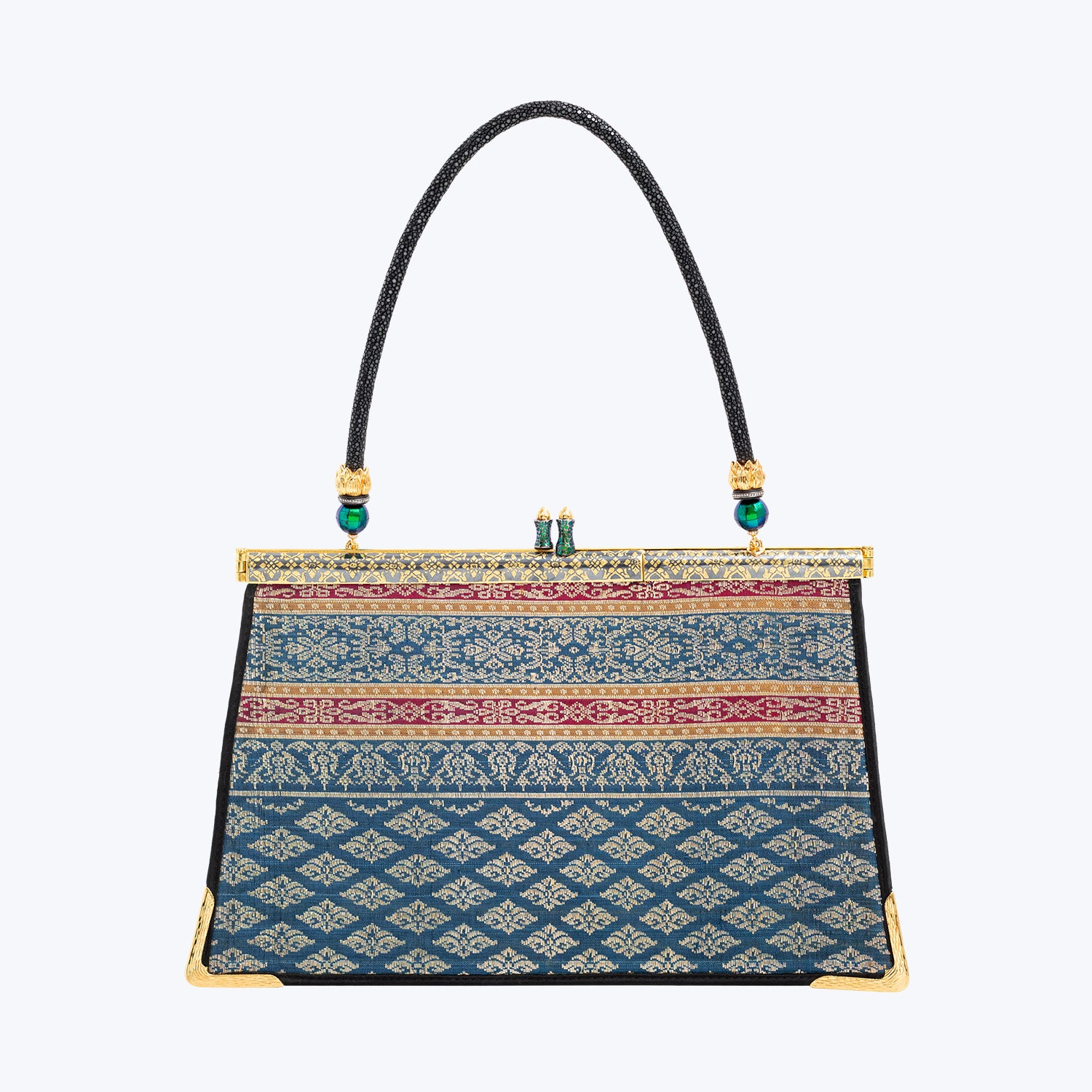 Woven Jewelled Silapacheep Handbag with Gold Niello Frame