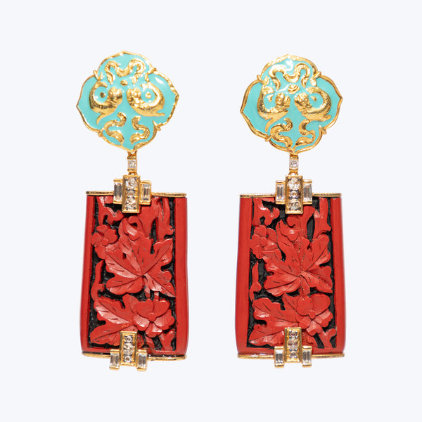 Cinnabar Lacquer Earrings with Buckle Flower and Diamond