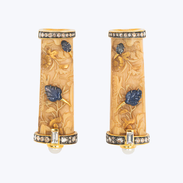 Japanese Carved Bone Earrings with Diamond, Blue Sapphire and Pearl