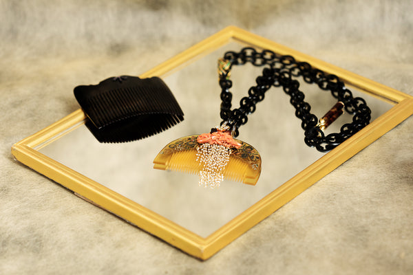 Japanese Lacquer Necklace with Buffalo Horn, Red Stone and Diamond