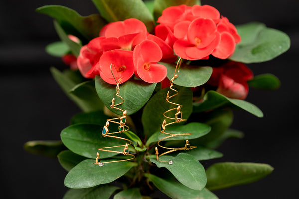 Christmas Tree Earrings with Scarab &  Flaming Candles (18K Gold)