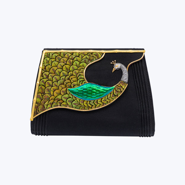 Swirling Splendour Peacock Clutch
