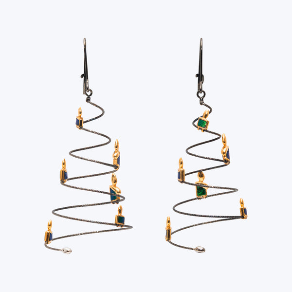 Christmas Tree Earrings with Scarab & Flaming Candles (18K Black Gold )