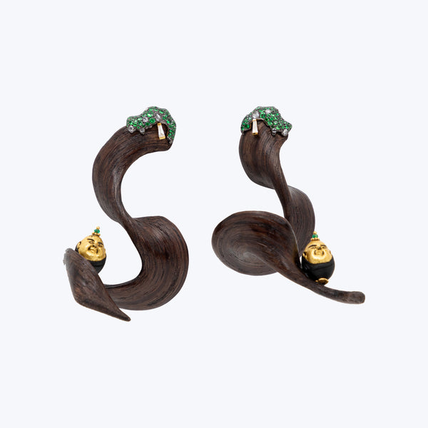 Happy Monk Earrings with Crazy Wood, Baguette, Tsavorite Green and Diamond