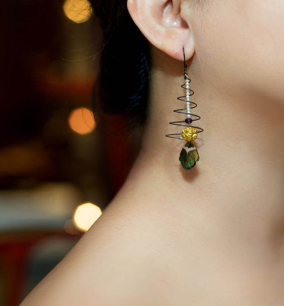 Floating Feather Spiral Earrings
