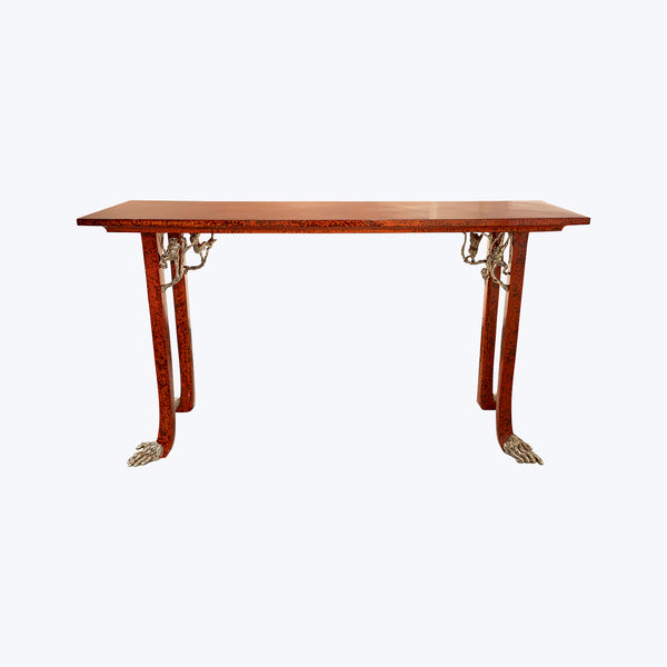 Red Lacquer Table with Silver Monkeys