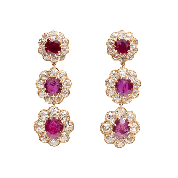 Burmese Ruby and Golconda Diamond Earrings