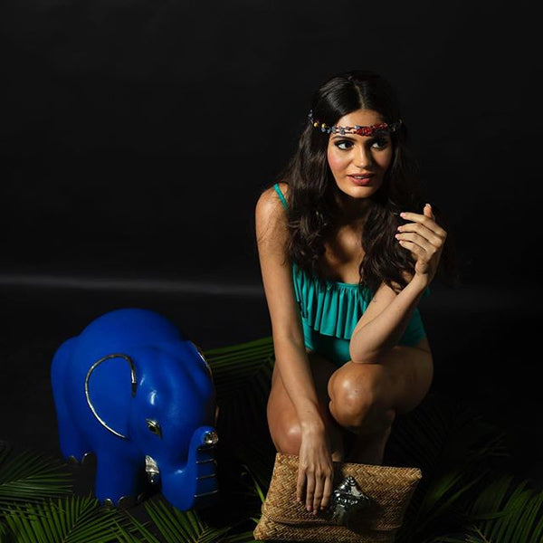 Blue Leather Elephant Stool