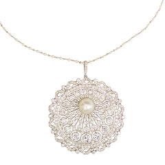 Belle Epoque 1910's Platinum, Diamond Pearl Pendant with Seed Pearl Chain