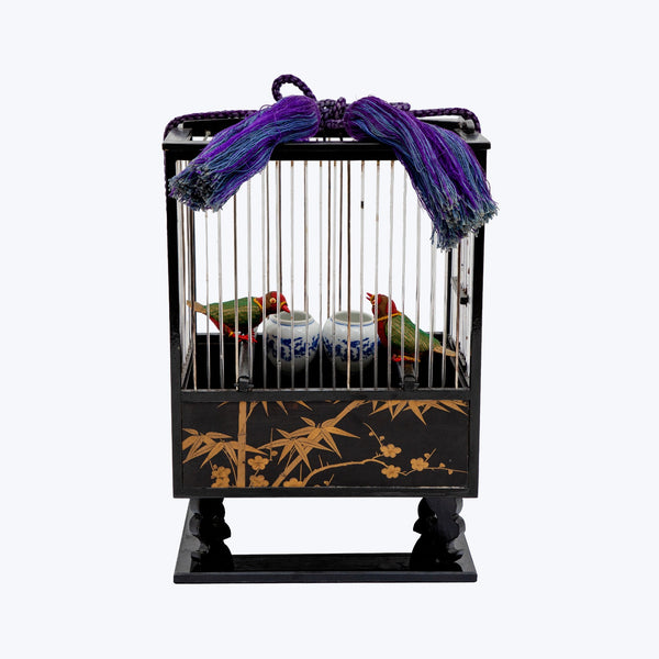 Japanese Lacquered Bird Cage with two Lovebirds