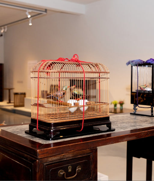 Wooden Bird Cage with two Lovebirds