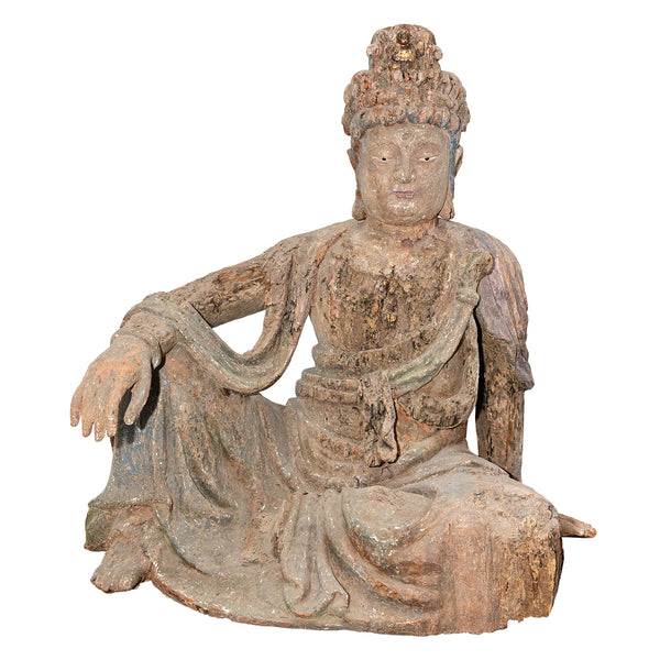 Ming Dynasty Guan Yin Sculpture (Sitting)