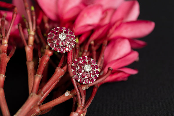 Ruby Earrings in 18K Gold and Diamonds