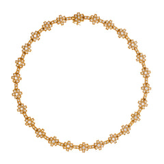 Basra Pearl and Diamond necklace in 18K Gold
