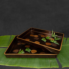 Japanese Lacquer Tray Set with Shell Motifs ( 2pcs/set)
