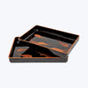 Japanese Lacquer Tray Set with Shrimp Motifs ( 2pcs/set)