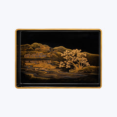 Japanese Lacquer Tray with Sakura and Mountain Motifs