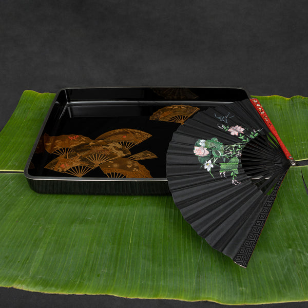 Japanese Lacquer Tray with Fan Motifs