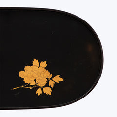 Japanese Lacquer Oval Tray with Flower Motifs