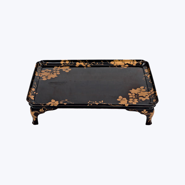 Japanese Lacquer High Tray with Flower Motifs