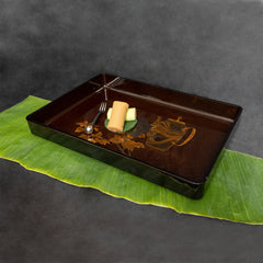 Japanese Lacquer Tray  with Tea Pot and Flower Décor Motifs