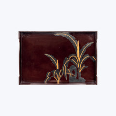 Japanese Lacquer Tray Set with Wheat Field Motifs (2pcs/set)
