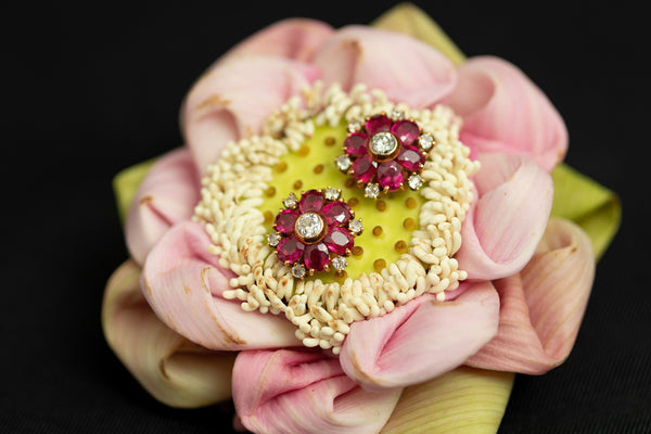 Burmese Ruby Earrings in 18K Gold and Diamonds