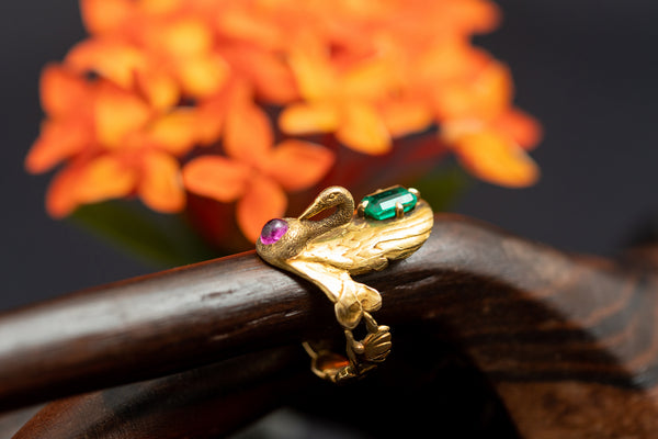 French Art Nouveau Swan Ring  with Emerald and Burmese Ruby