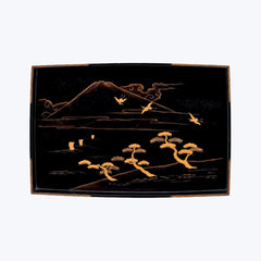 Japanese Lacquer Tray Set with Mount Fuji, Trees and Birds Motif ( 2pcs/set )
