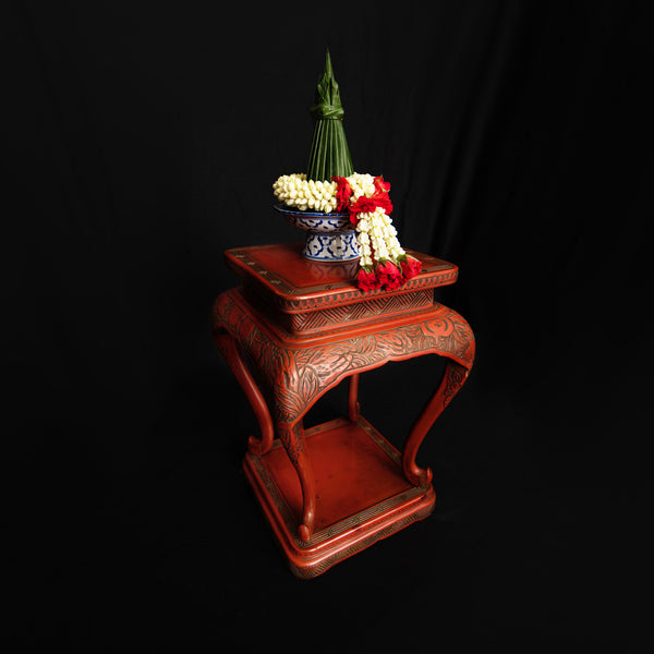 Carved Red Lacquer Side Table
