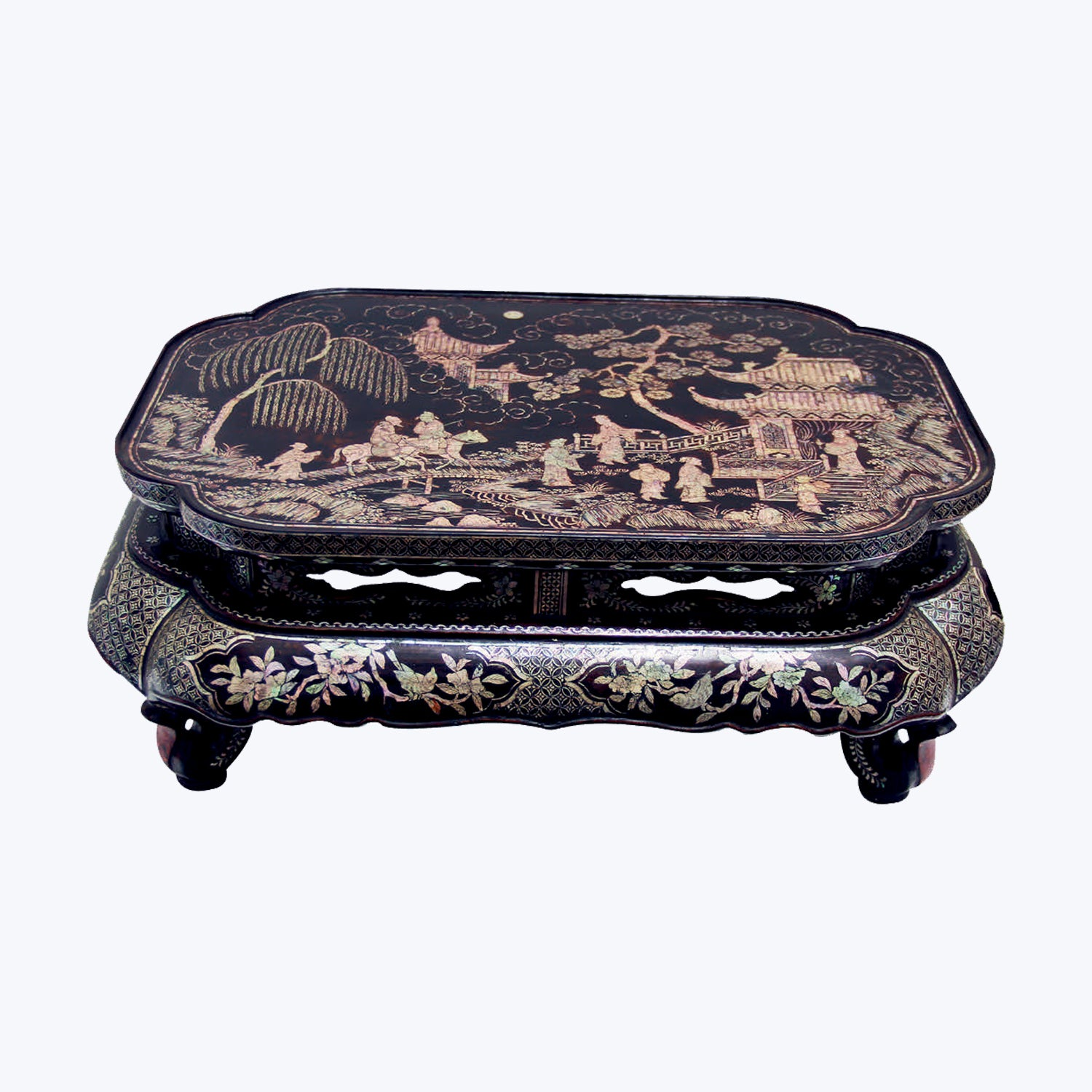 Japanese Low Table with Shell Inlay
