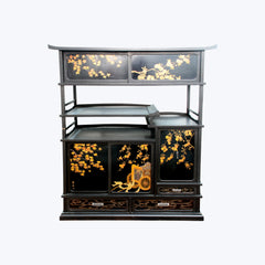 Japanese Lacquer Cabinet with Traditional Floral Motifs